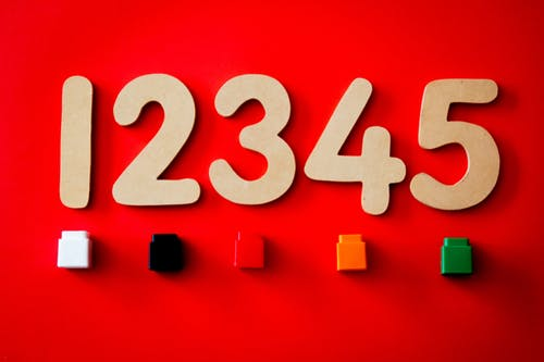 numbers 1-5 on red background