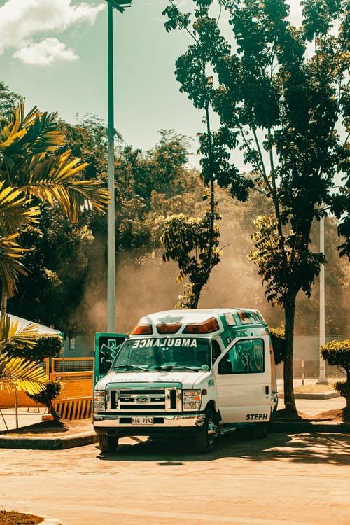 Ambulance van parked infront of trees